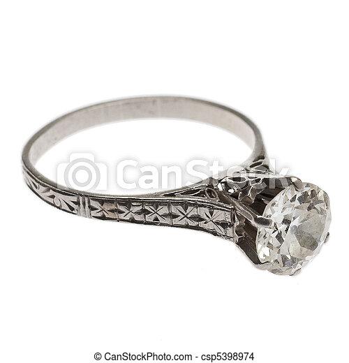 antikvitet, ringa, diamant, 1920's - csp5398974