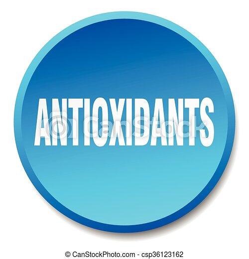 antioxidants blue round flat isolated push button - csp36123162