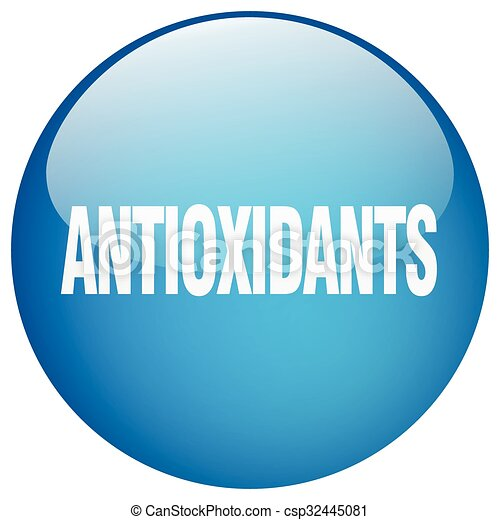 antioxidants blue round gel isolated push button - csp32445081