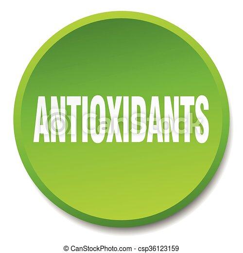 antioxidants green round flat isolated push button - csp36123159