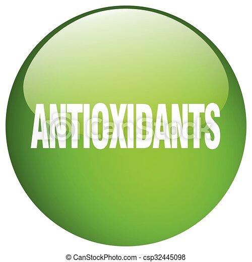 antioxidants green round gel isolated push button - csp32445098