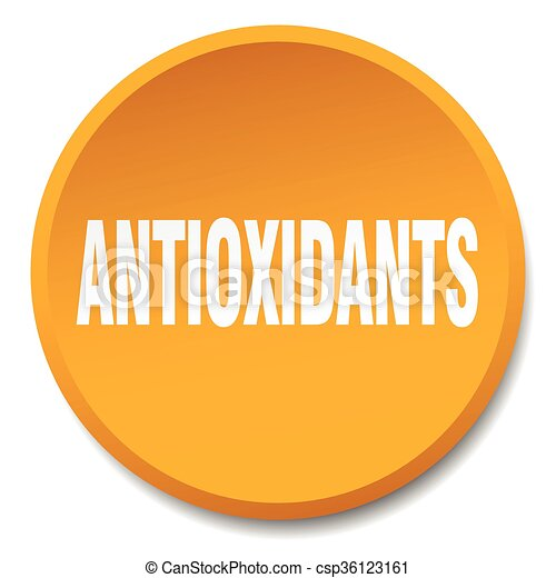 antioxidants orange round flat isolated push button - csp36123161