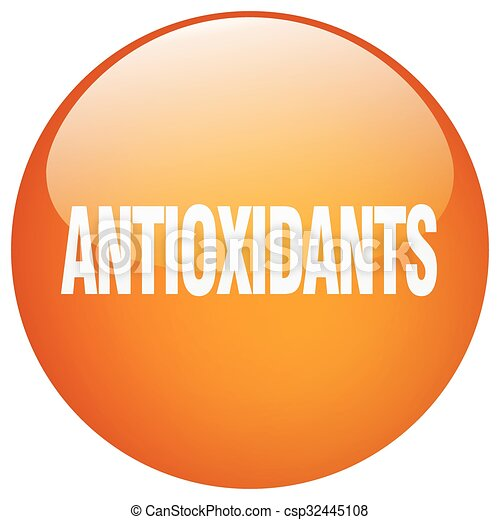 antioxidants orange round gel isolated push button - csp32445108