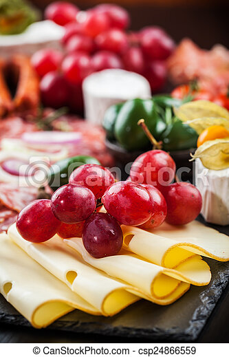 Antipasto dinner platter  - csp24866559