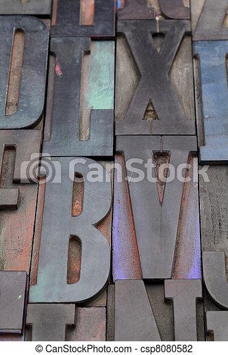 antique alphabet letters - csp8080582