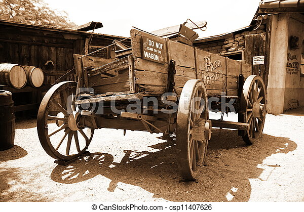 Antique american cart in old wester - csp11407626