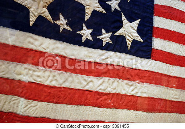 Antique American Flag Old Weathered With