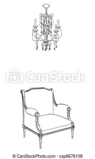 Antique Armchair And Chandelier  - csp6676108
