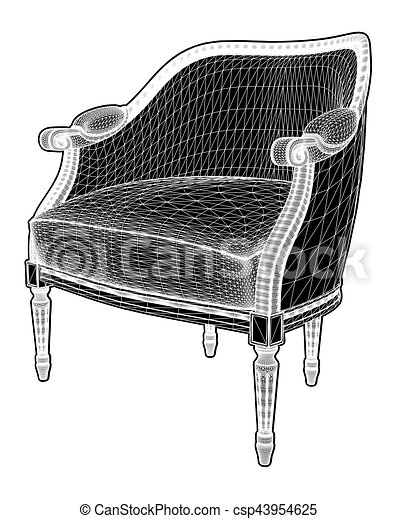 Antique Armchair Vector - csp43954625