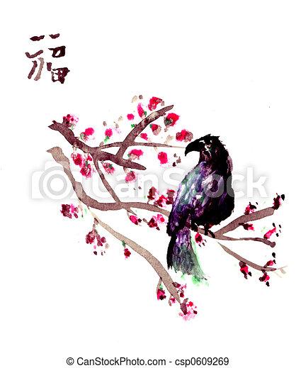 Antique Asian Bird paper - csp0609269