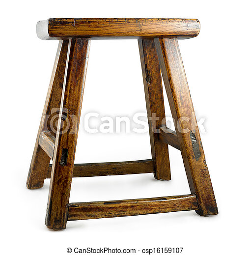 antique asian stool isolated on a white background - csp16159107