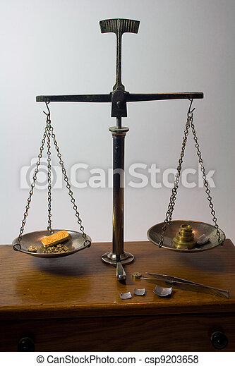 antique balance scale weighing gold weighing gold bar and