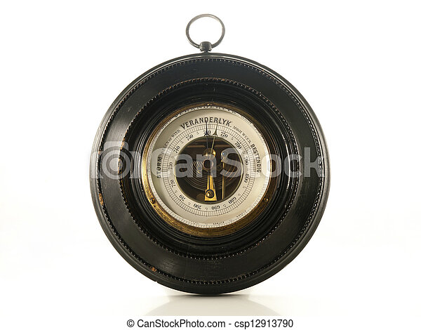 antique barometer isolated on a white background - csp12913790