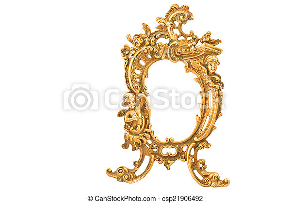 Antique baroque brass frame isolated on white - csp21906492
