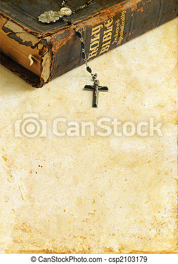 Antique Bible and Rosary on a Grunge Background - csp2103179