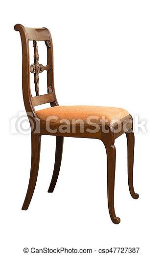 Antique Biedermeier Chair With Wood Carving   Csp47727387