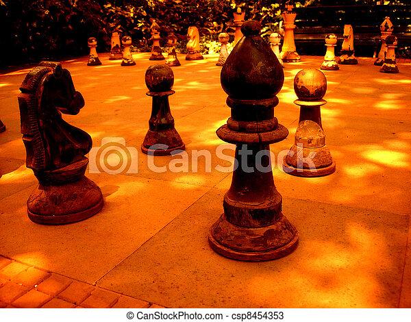 Antique Bishop and pawns - csp8454353