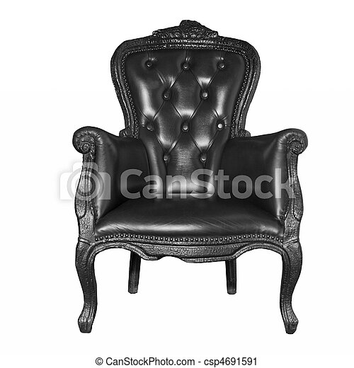 antique black leather chair isolated on white  - csp4691591