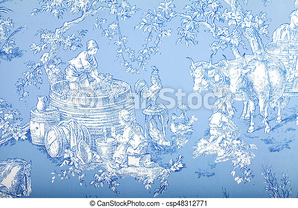 Antique Blue And White French Baroque Pattern Wallpaper Depicts Pastoral Men Women Wine Making