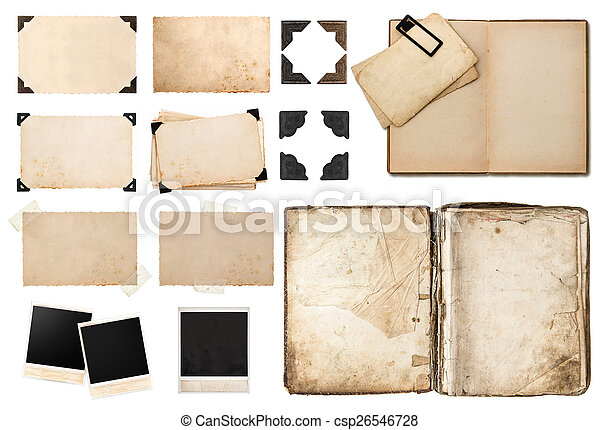 antique book, vintage paper card with corners, tapes and frames - csp26546728