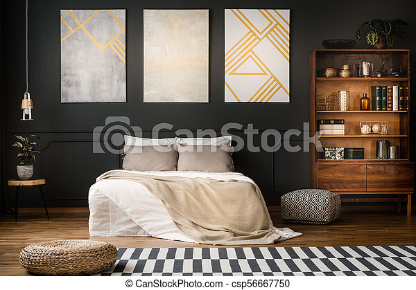 Antique Bookcase In Dark Bedroom Elegant Wooden Antique Bookcase In A Dark Modern Bedroom Interior With A Black Wall And Canstock