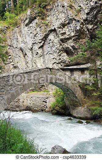 antique bridge in Pre Saint Didier - csp4633339