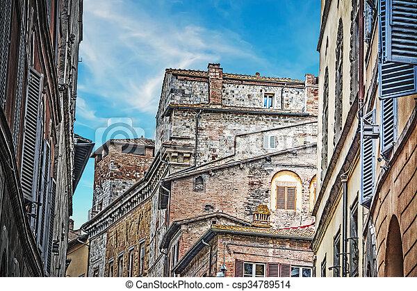 antique buildings in Siena - csp34789514