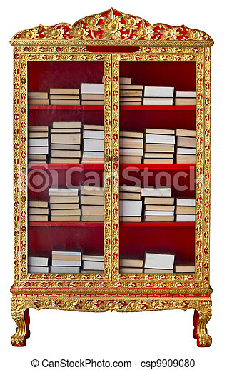 Antique cabinet with Buddhist Meditation Books - csp9909080