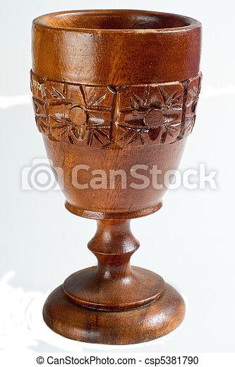 Antique Carved Wooden Goblet - csp5381790