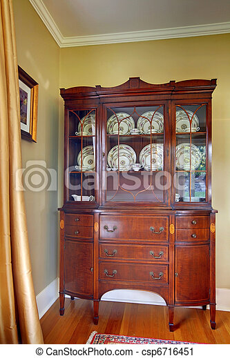 Antique China Cabinet Stock Photo