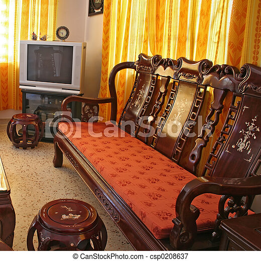 Antique Chinese Rosewood Furniture Living Room Furnished With
