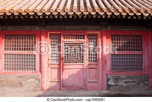 antique chinese stylish door - csp1693061 - Antique Chinese Stylish Door In The Forbidden City.