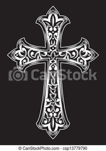 Antique Christian Cross Vector - csp13779790