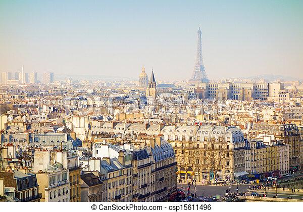 antique city view in paris - csp15611496