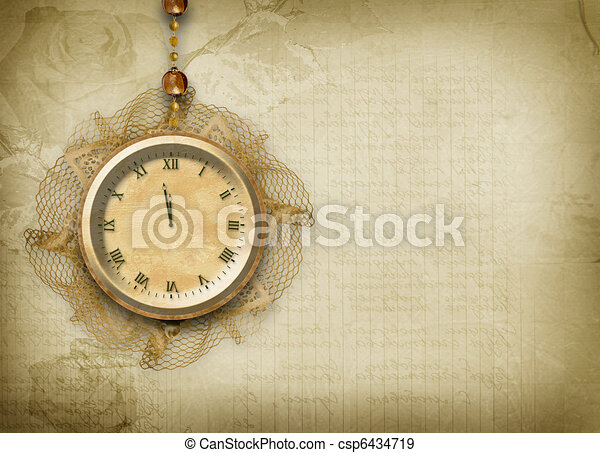 Antique clock face with lace on the abstract background - csp6434719