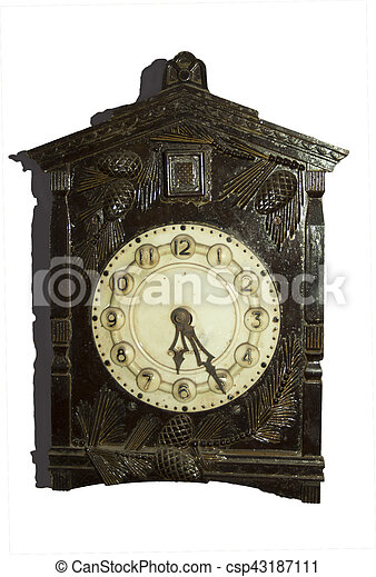Antique clocks in wooden case. - csp43187111