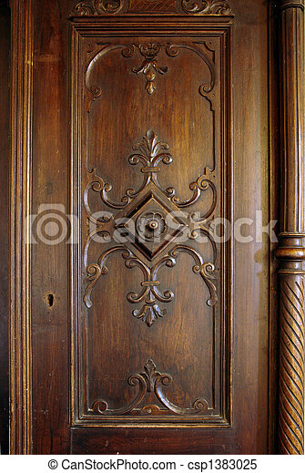 Antique closet door - csp1383025 & Antique closet door. A picture of a wooden carved door of an antique ...
