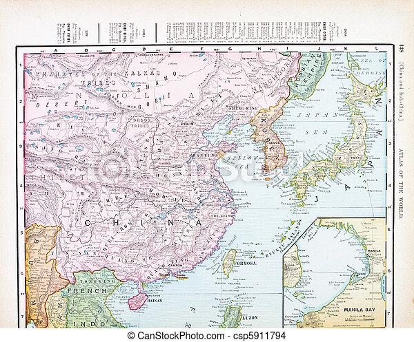 Antique Color English Map of China, Korea, Japan - csp5911794