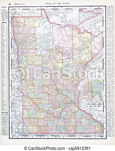 Antique color map minnesota mn united states, usa. Vintage map of ...