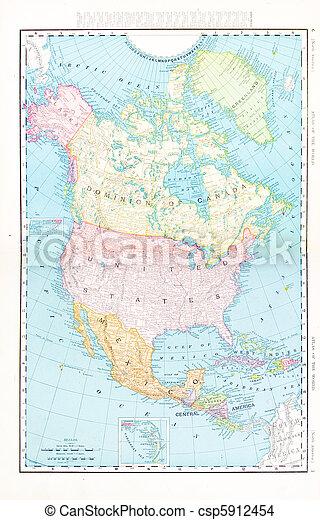 Antique color map north america canada mexico, usa. Vintage map of ...