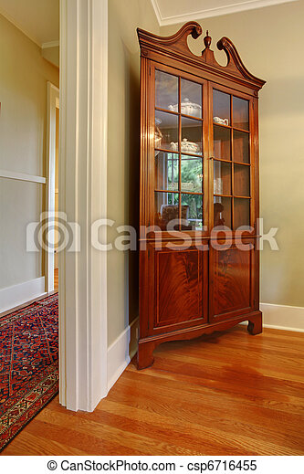 Antique Corner China Cabinet Stock Photo