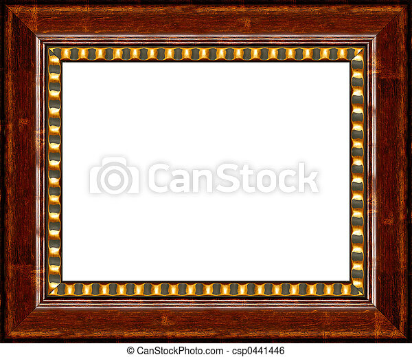 Dark Wood Frame Antique Wooden Picture Isolated