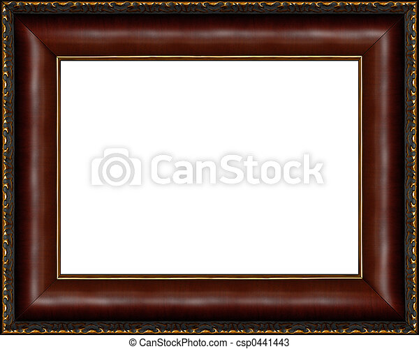 Antique dark wooden picture frame isolated. Antique wooden photo ...