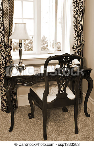 Antique desk and chair - csp1383283