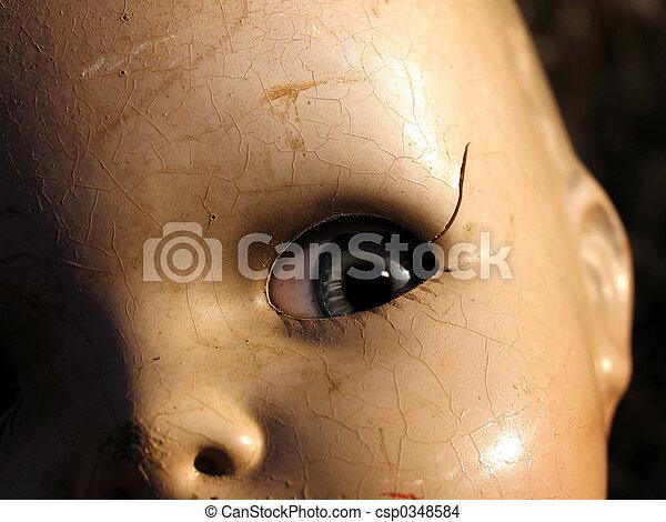 Antique doll close up - csp0348584