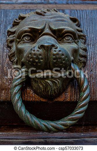 Antique Door Knocker With Lion Head   Csp57033073