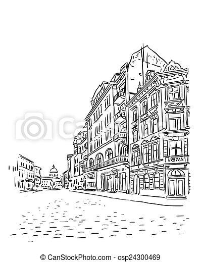 Antique European street. - csp24300469