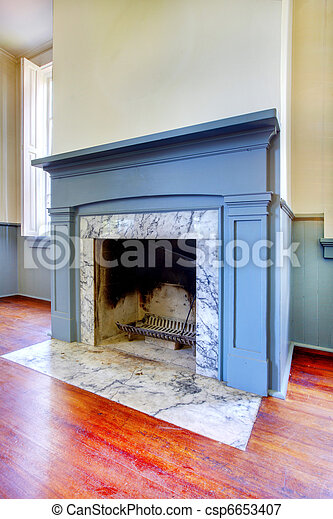 Antique fireplace with mental from 1856 - csp6653407