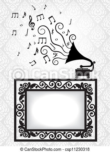 antique frame and gramophone - csp11230318
