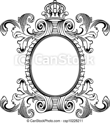 Antique Frame Engraving, Scalable And Editable Vector Illustration - csp10228211